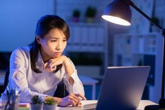 Woman overtime work royalty free stock image