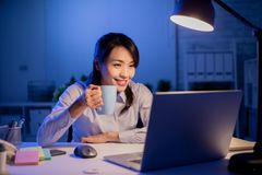 Woman overtime work stock photos