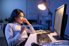 Woman overtime work royalty free stock photography