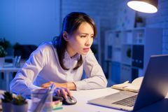 Woman overtime work royalty free stock photos