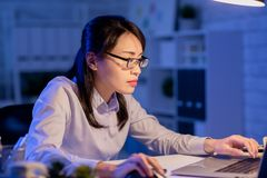 Woman overtime work stock images