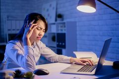 Woman overtime work stock photography