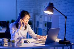 Woman overtime work stock photography