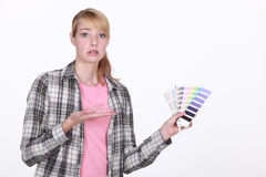 Woman overwhelmed by choice Royalty Free Stock Images