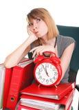Woman work stoppage Overworked businesswoman plenty of documents Stock Photo