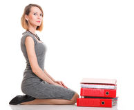 Woman work Overworked businesswoman plenty of documents  Stock Photos