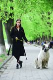 Woman owner with pet outdoor. Gir walk dog in spring park. Love, care, trust. Pet, companion, friends, friendship Protection alertness bravery alabai stock image