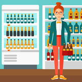 Woman with pack of beer. Stock Images