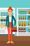 Woman with pack of beer. Royalty Free Stock Photography