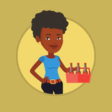 Woman with pack of beer vector illustration. African-american smiling woman buying beer. Young happy woman holding pack of beer. Woman carrying a six pack of Royalty Free Stock Photos