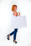 Woman with package Stock Images