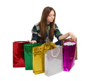 Woman Packages buying gifts Stock Photo