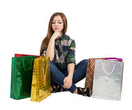 Woman Packages buying gifts Stock Image