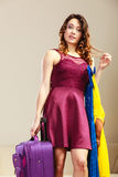 Woman with packed suitcase Royalty Free Stock Photo