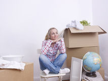 Woman packing Stock Photo