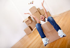 Woman packing Stock Image