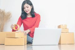 Woman packing boxes royalty free stock image