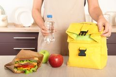 Free Woman Packing Food For Her Child At Table Stock Images - 129846544