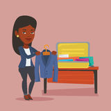 Woman packing her suitcase vector illustration. Stock Photos