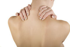 Woman with pain. Bodyparts of ayoung woman with pain in her neck Stock Image