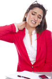 Woman with of pain and discomfort at work. Woman beautiful expression of pain and discomfort at work Royalty Free Stock Photo