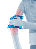 Woman with pain in elbow Royalty Free Stock Image