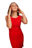 Woman pain emotion stress tired headache, holding Royalty Free Stock Image