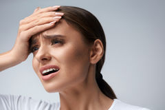 Woman Pain. Girl Having Strong Headache, Suffering From Migraine Royalty Free Stock Photography
