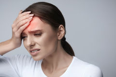 Woman Pain. Girl Having Strong Headache, Suffering From Migraine Royalty Free Stock Photo