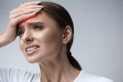 Woman Pain. Girl Having Strong Headache, Suffering From Migraine Stock Photo