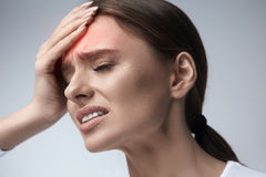 Woman Pain. Girl Having Strong Headache, Suffering From Migraine. Health. Woman In Pain Feeling Bad And Sick, Having Headache And Fever, Holding Hand On Forehead Royalty Free Stock Image