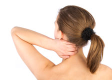 Woman with pain in her neck and shoulder Royalty Free Stock Photo
