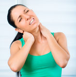 Woman Pain In Neck Royalty Free Stock Photo