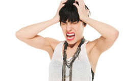 Woman in pain screaming. Studio shot isolated on white Royalty Free Stock Image