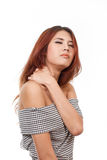 Woman with pain at shoulder, neck, upper back Royalty Free Stock Photography
