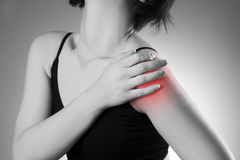 Woman with pain in shoulder. Pain in the human body Stock Image