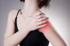 Woman with pain in shoulder. Pain in the human body Stock Photos