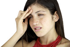 Woman in pain suffering very strong headache Stock Photo