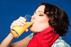 Woman pain throat juice Royalty Free Stock Photography