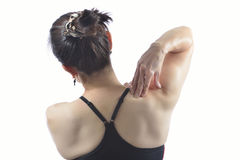 Woman  painful shoulder Royalty Free Stock Images