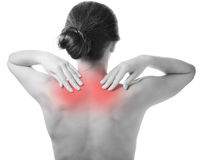 Woman with painful shoulder. Royalty Free Stock Photo