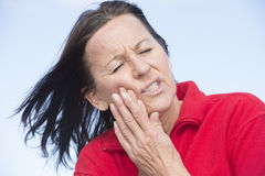 Woman painful toothache suffering Royalty Free Stock Photo