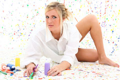 Woman with Paint Stock Photos