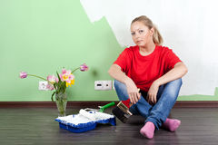 Woman with paint brushes Stock Photography