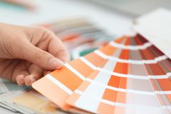 Woman with paint color palette samples at table. Closeup royalty free stock photo