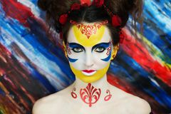 Woman Paint Masterpiece. Portrait. Soul of the masterpiece, inspiration, dream illusion. emotional professional photo paint. Beautiful young extraordinary woman Royalty Free Stock Photography