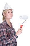 Woman With Paint Roller Royalty Free Stock Photography