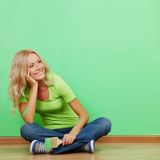 Woman paint the wall Royalty Free Stock Image