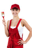 Woman with paintbrush Royalty Free Stock Photography