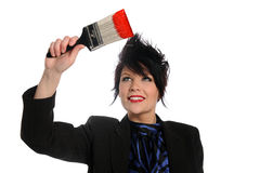 Woman With Paintbrush Stock Image